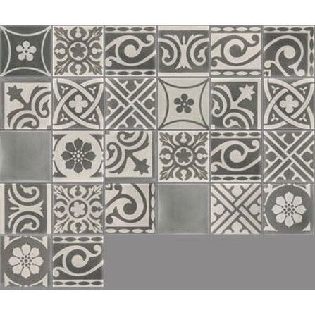 Carreau de ciment sol et mur gris Patchwork l.20 x L.20 cm