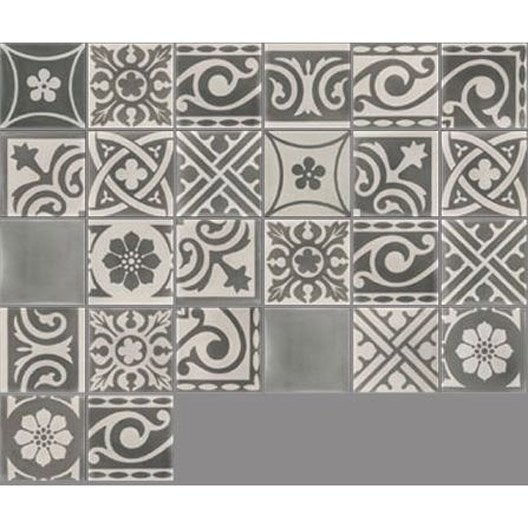 Carreau de ciment sol et mur gris fonc et clair patchwork - Stickers carrelage leroy merlin ...