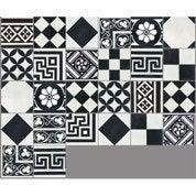 Carreau de ciment sol et mur noir et blanc Patchwork l.20 x L.20 cm
