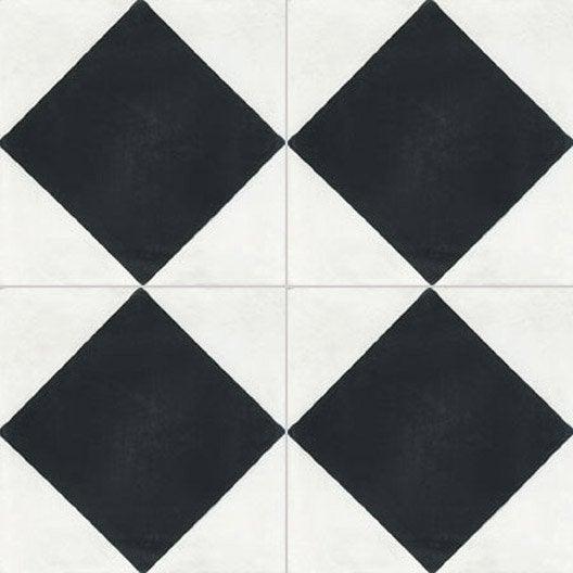 carreau de ciment sol et mur blanc et noir losange x cm leroy merlin. Black Bedroom Furniture Sets. Home Design Ideas