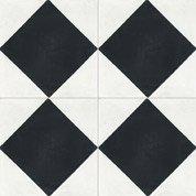 Carreau de ciment sol et mur blanc et noir Losange l.20 x L.20 cm