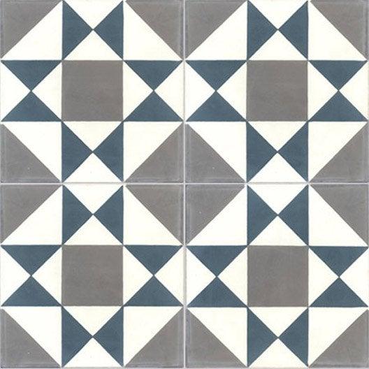 Carreau de ciment sol et mur bleu / gris foncé  Grenelle l.20xL.20cm