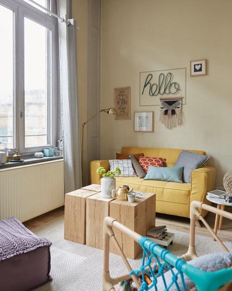 Un salon cosy et lumineux