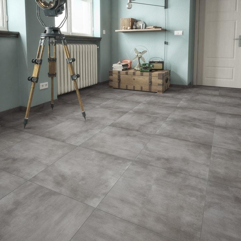 carrelage sol et mur forte pierre gris foncé raison l.61.5 x l.61.5