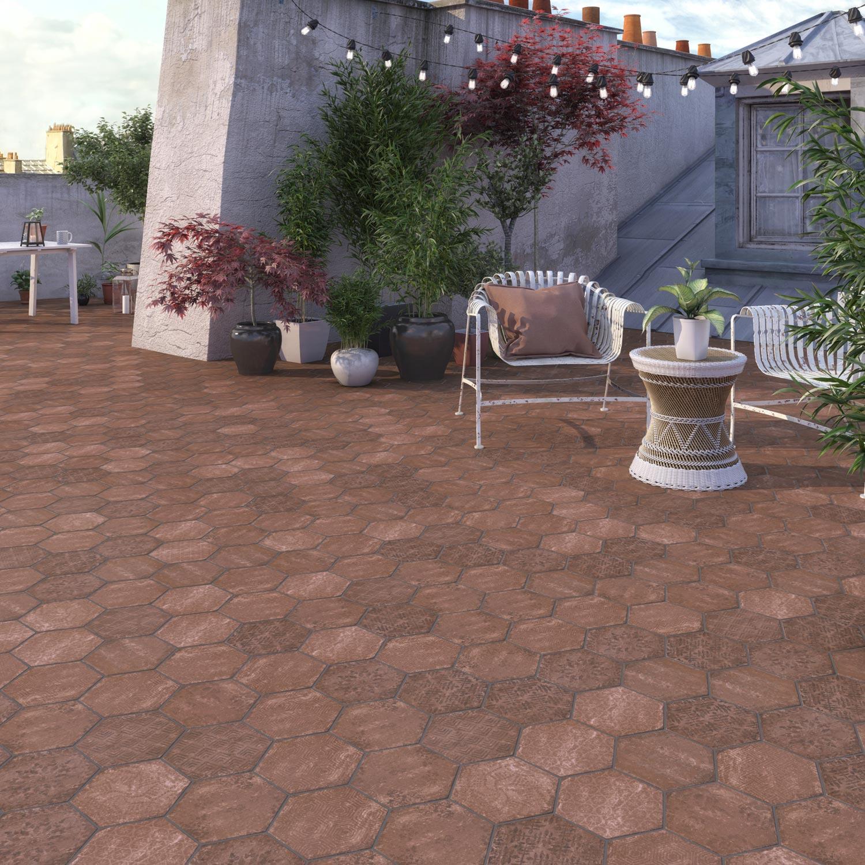 Carrelage sol rouge effet terre cuite Street l.25 x L.21.6 cm