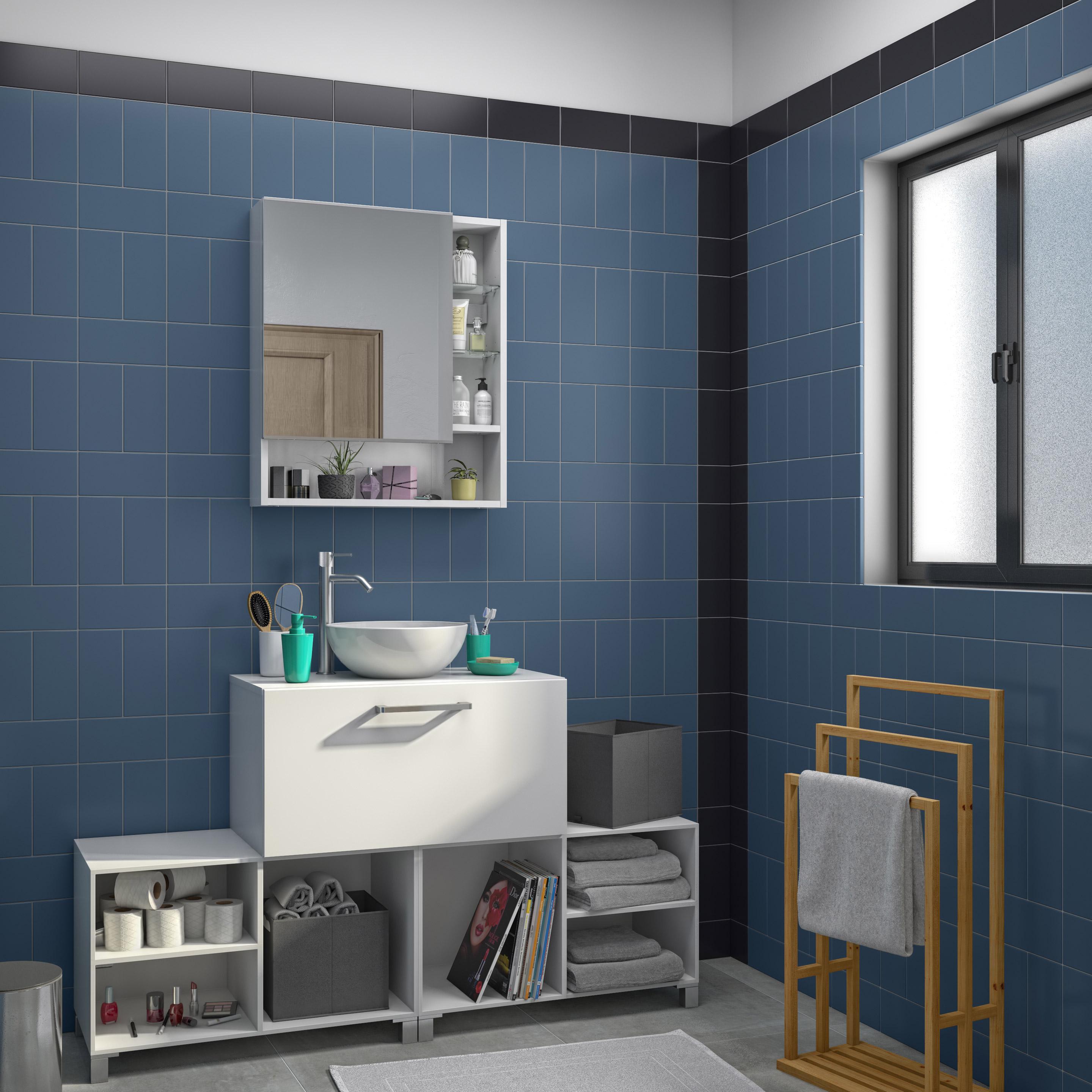 Meuble de salle de bains de 60 à 79, blanc, Easy