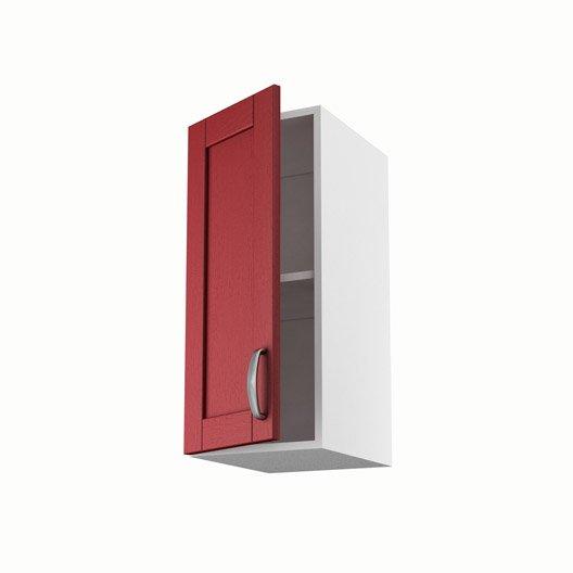Meuble de cuisine haut rouge 1 porte rubis x x p for Meuble cuisine hauteur 70 cm