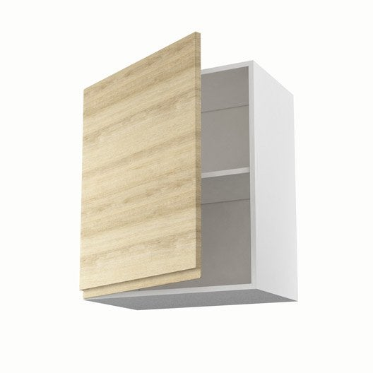 Meuble de cuisine haut d cor ch ne blanchi 1 porte graphic for Meuble 70 cm de haut