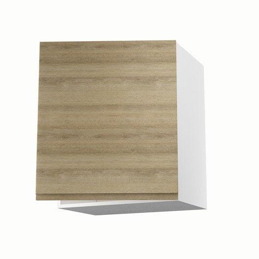 Meuble de cuisine haut d cor ch ne blanchi 1 porte graphic for Meuble haut profondeur 60