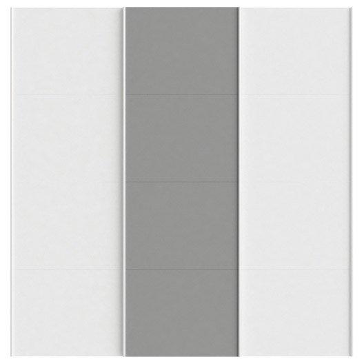 Lot De Portes Coulissantes SPACEO Home X X Cm Blanc - Porte placard coulissante jumelé avec verrou porte cave