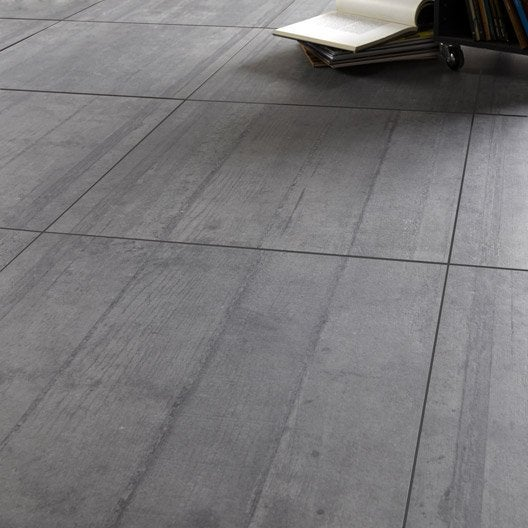 Carrelage sol et mur anthracite effet b ton industry for Carrelage 60 x 60 gris