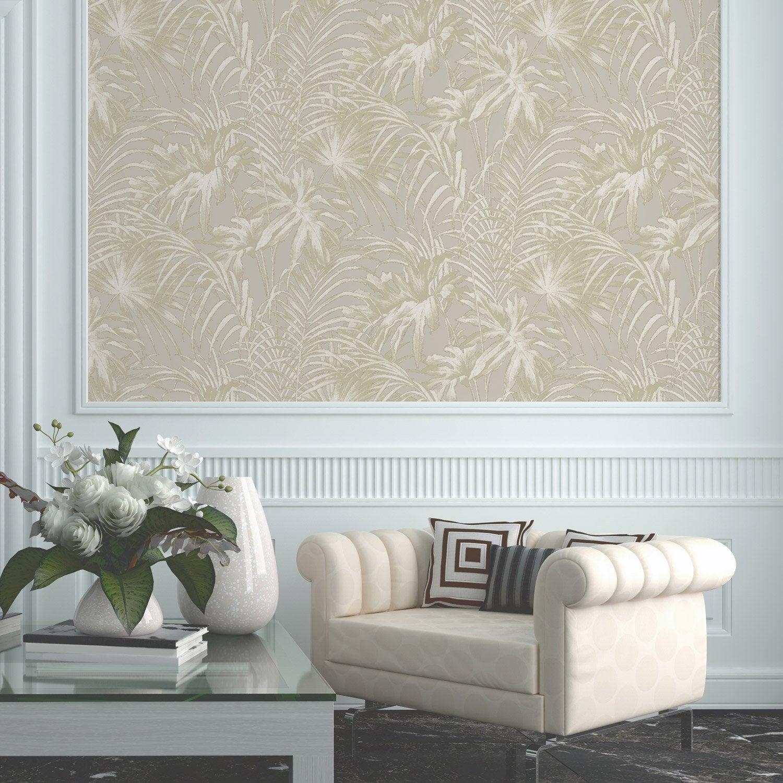 papier peint intiss feuillage beige leroy merlin. Black Bedroom Furniture Sets. Home Design Ideas