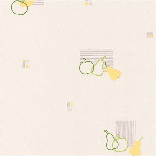 Papier peint pomme poire blanc vert papier cuisine et for Papier de cuisine