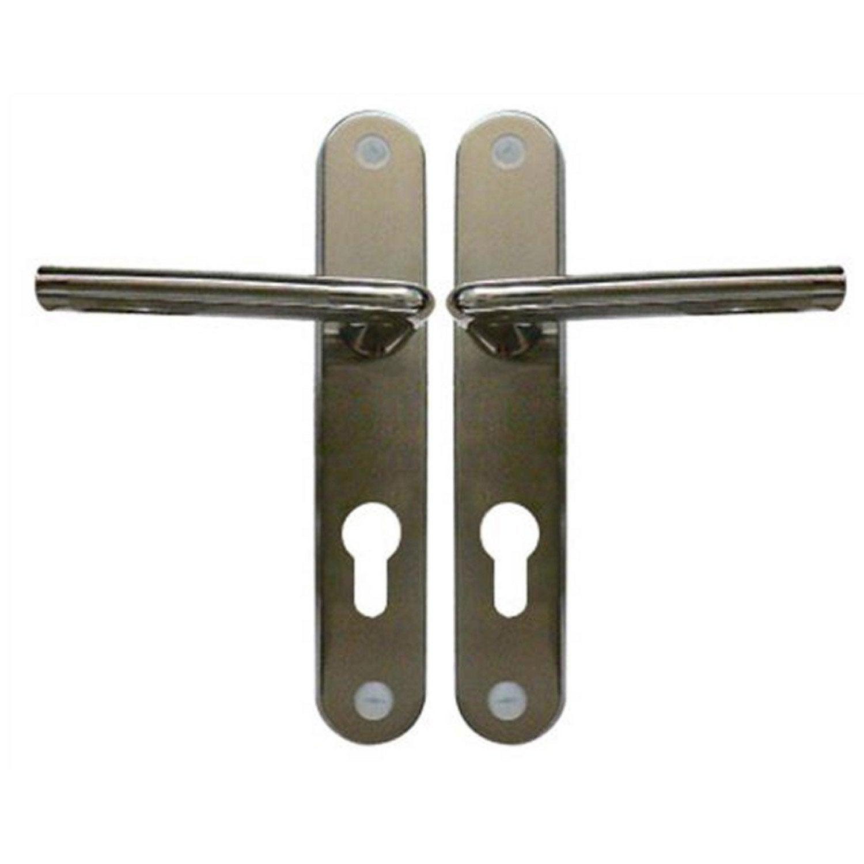 2 Poignées De Porte Sophie Trou De Cylindre, Zinc Nickelé, 195 Mm