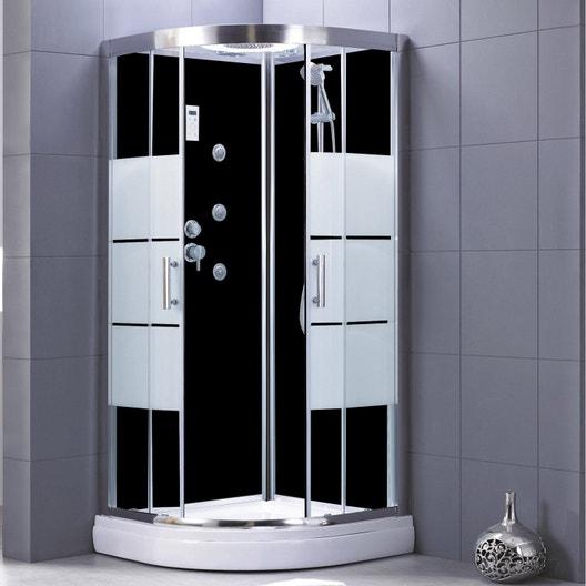 cabine de douche 1 4 de cercle 90x90 cm optima2 noire leroy merlin. Black Bedroom Furniture Sets. Home Design Ideas