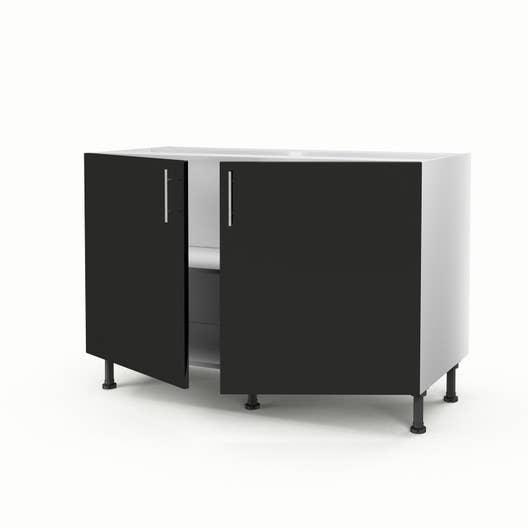 meuble de cuisine sous vier noir 2 portes rio x l. Black Bedroom Furniture Sets. Home Design Ideas