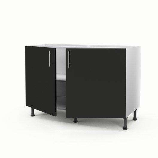 meuble de cuisine sous-évier noir 2 portes rio h.70 x l.120 x p.56 ... - Meuble Cuisine 120 Cm