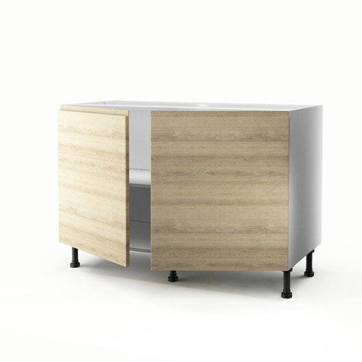 Meuble de cuisine sous vier d cor ch ne 2 portes graphic - Meuble cuisine sous evier 120 cm ...