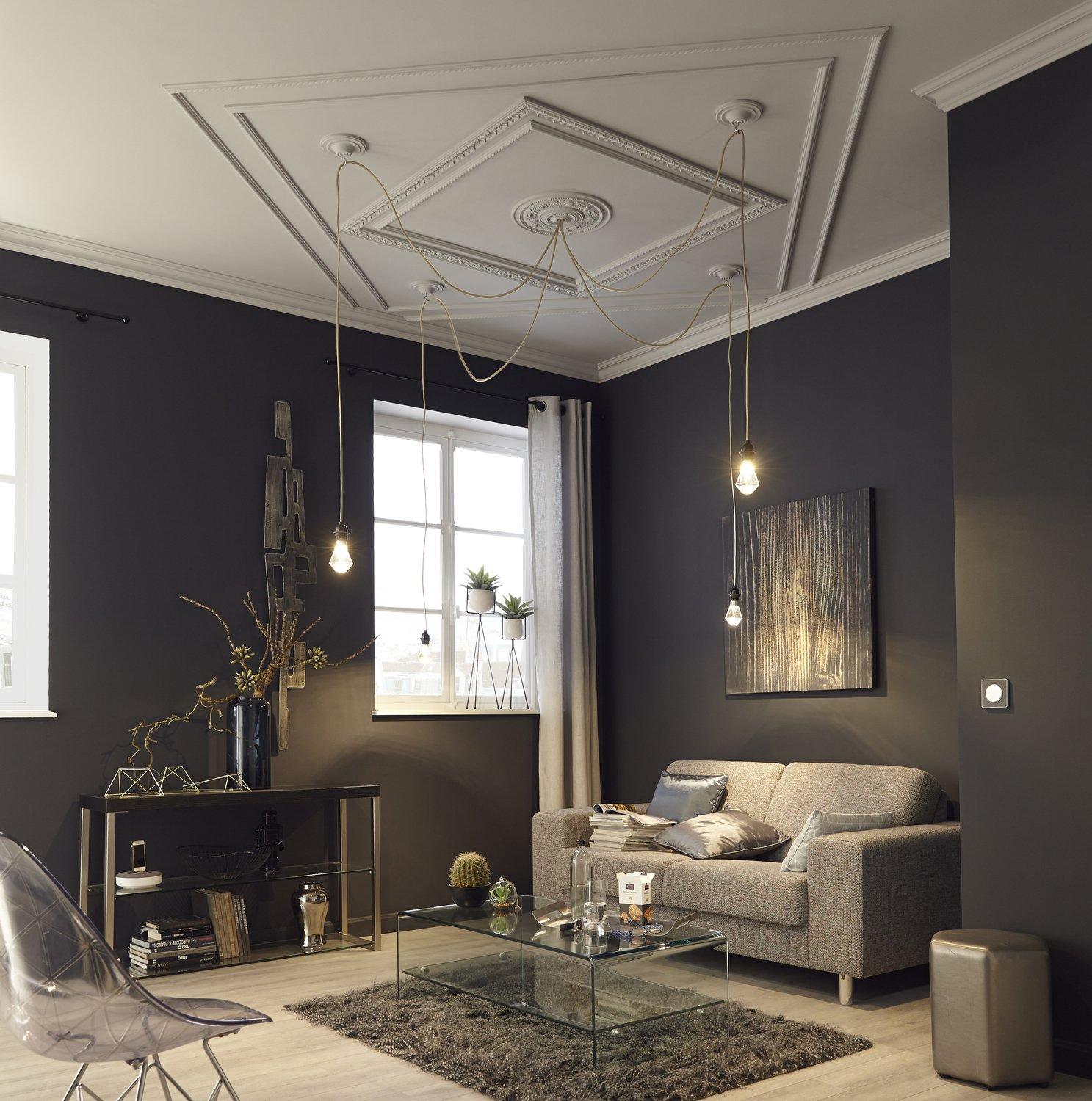 salon gris et plafond chic leroy merlin. Black Bedroom Furniture Sets. Home Design Ideas