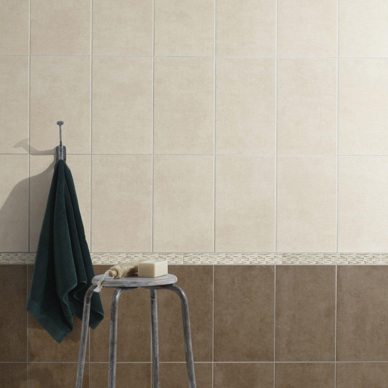 Faïence mur béton beige satiné l.25 x L.40 cm, Smart