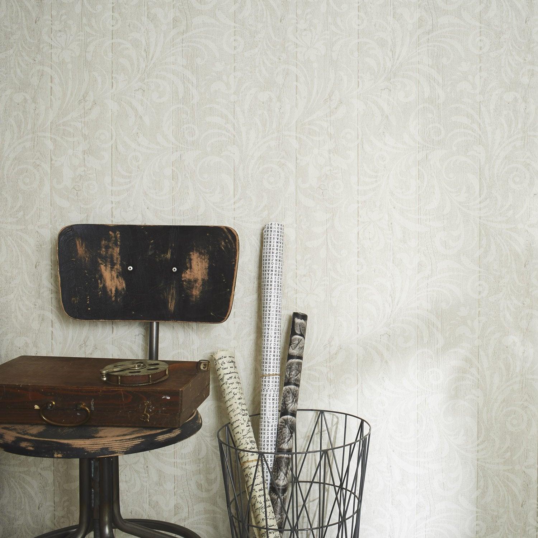 papier peint intiss ornement bois beige leroy merlin. Black Bedroom Furniture Sets. Home Design Ideas