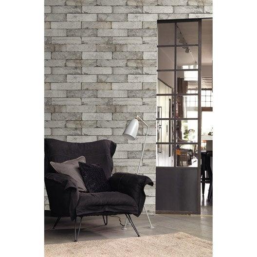papier peint intissé brique beton   leroy merlin