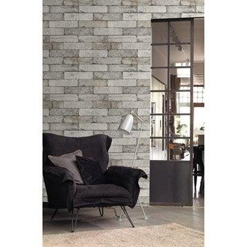 Papier peint intissé Brique gris clair