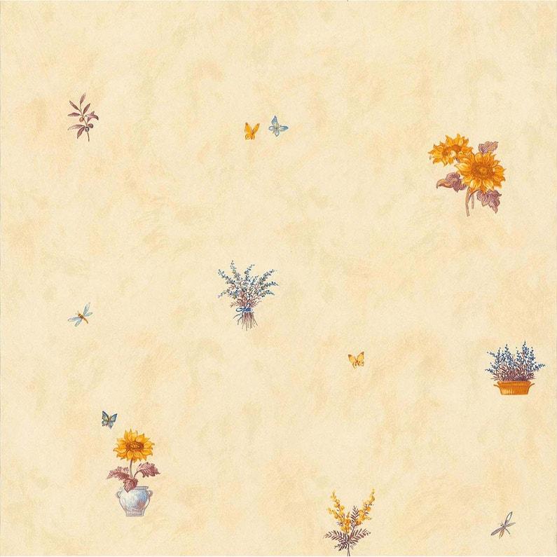 Papier peint tournesol jaune papier cuisine et bain | Leroy Merlin