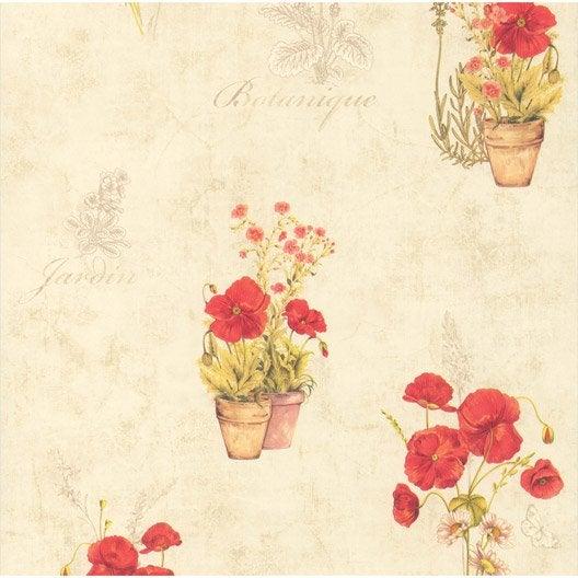 Papier Peint Coquelicots Beige, Rouge Papier Cuisine Et Bain