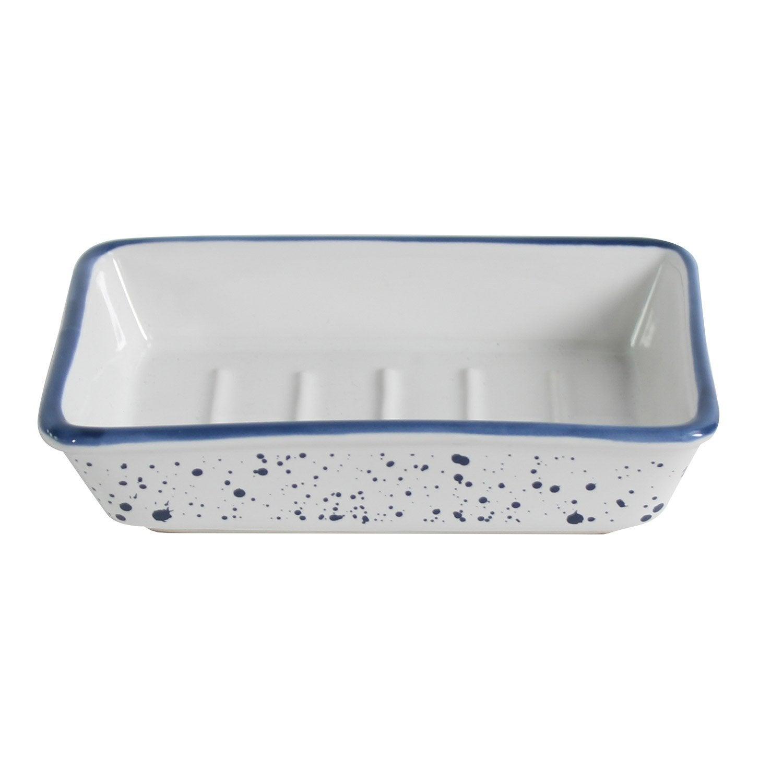 Porte-savon céramique Tim, blanc et bleu