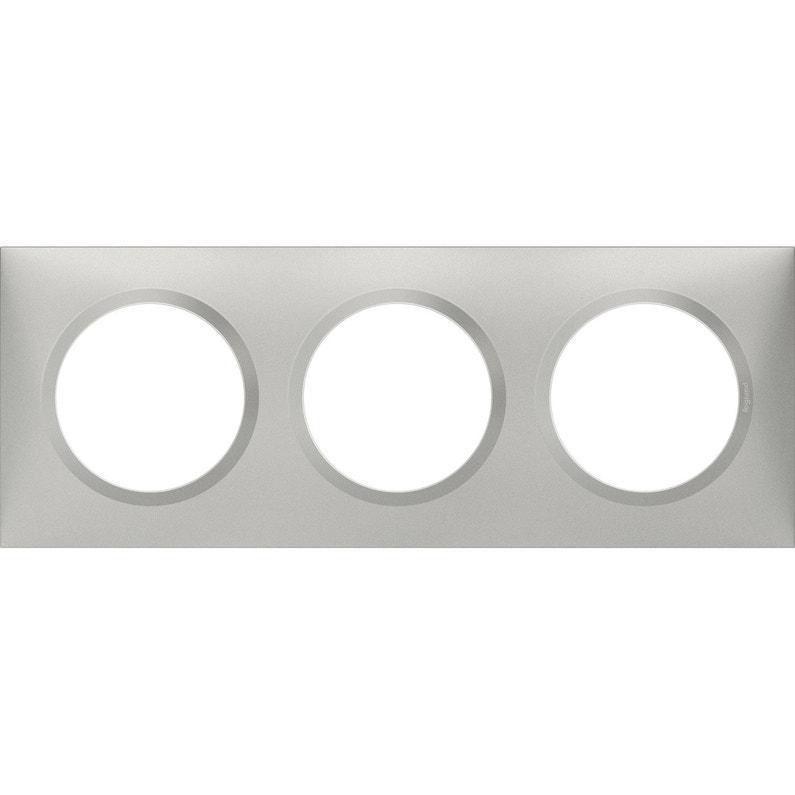 Plaque Triple Dooxie Legrand Aluminium