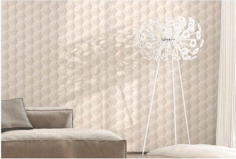Papier Peint Vinyle Origami Paillette Gris Argent Leroy Merlin