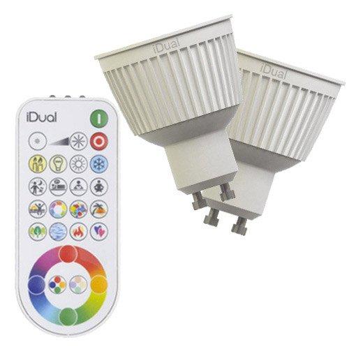 2 Ampoules Réflecteurs Led Changement De Couleurs Télécommande 6 5w Gu10 Idual