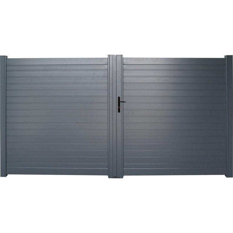 Portail Battant Aluminium Concarneau Gris Naterial L300 Cm X H153 Cm