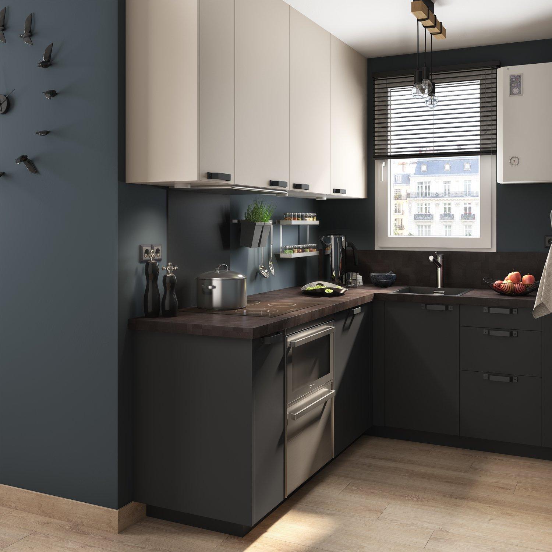 Cuisine Noir Et Blanc Mat cuisine contemporaine noire et blanche | leroy merlin