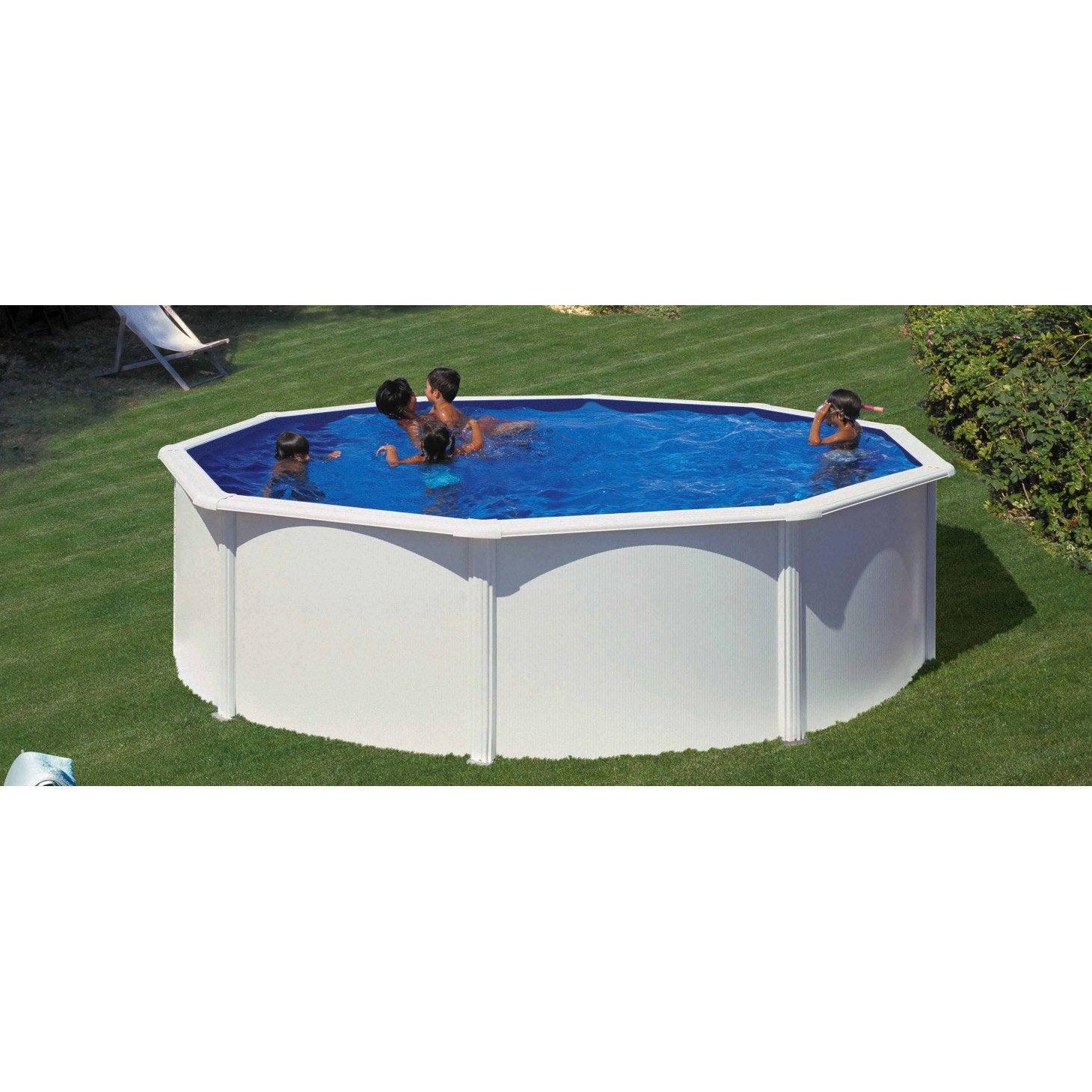 piscine hors sol acier san clara gre diam 5 7 x h 1 2 m. Black Bedroom Furniture Sets. Home Design Ideas