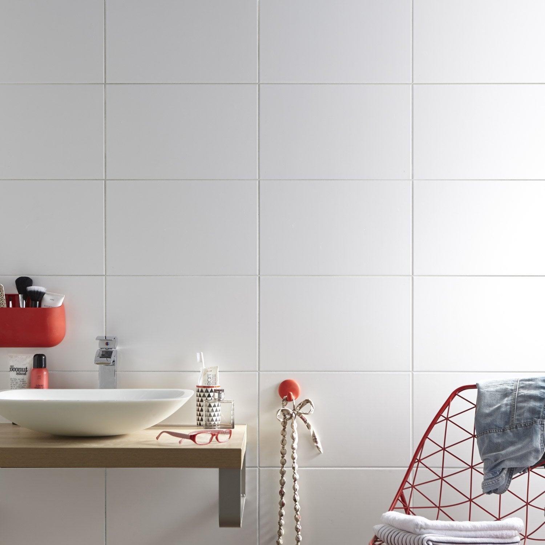 Faïence Mur Uni Blanc Mat L.25 X L.40 Cm, Basic