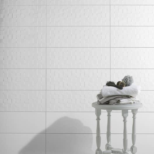 Fa ence mur blanc brillant d cor relief cube x for Faience salle de bain blanc brillant