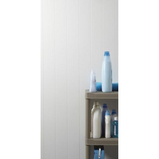 Lambris pvc blanc brut dumaplast x cm x mm leroy merlin - Lambris pvc salle de bain avis ...