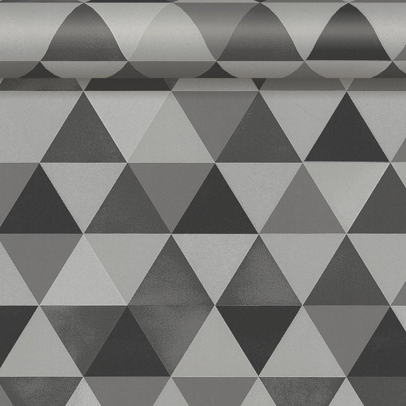 Papier Peint Intisse Triangle Gris Fonce Leroy Merlin