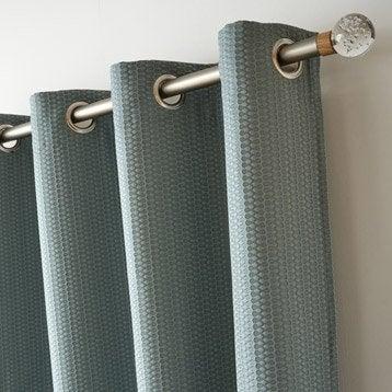 Rideau tamisant, Nova, bleu aqua, l.140 x H.260 cm