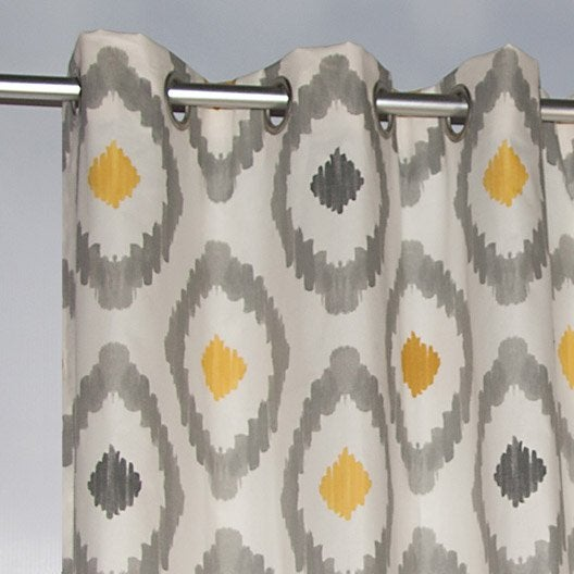 rideau tamisant ogive gris jaune x cm. Black Bedroom Furniture Sets. Home Design Ideas
