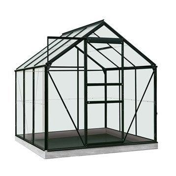 Serre de jardin en polycarbonate simple paroi Rainbow noir, 3.8 m²