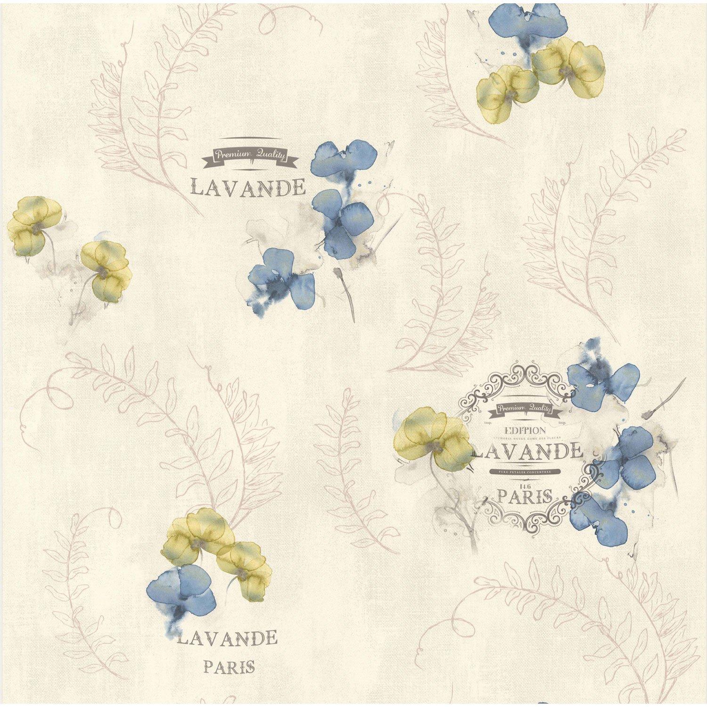 papier peint lavande gris bleu papier cuisine et bain leroy merlin. Black Bedroom Furniture Sets. Home Design Ideas