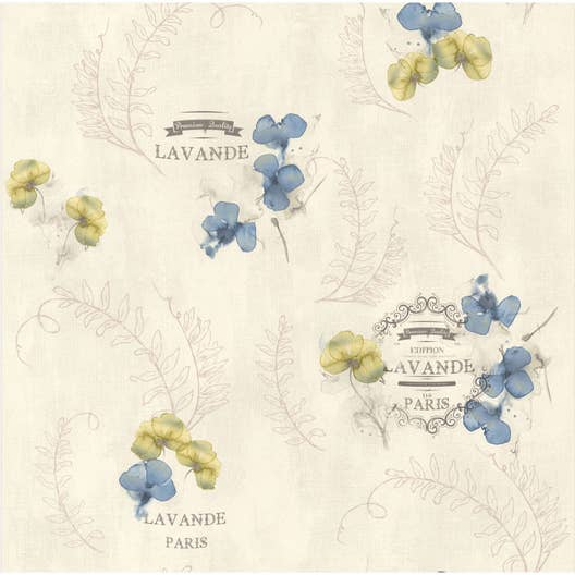Papier peint lavande gris, bleu papier cuisine et bain | Leroy Merlin