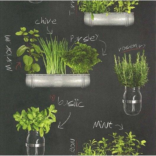 Papier Peint Plantes Aromatiques Gris, Vert Papier Cuisine Et Bain