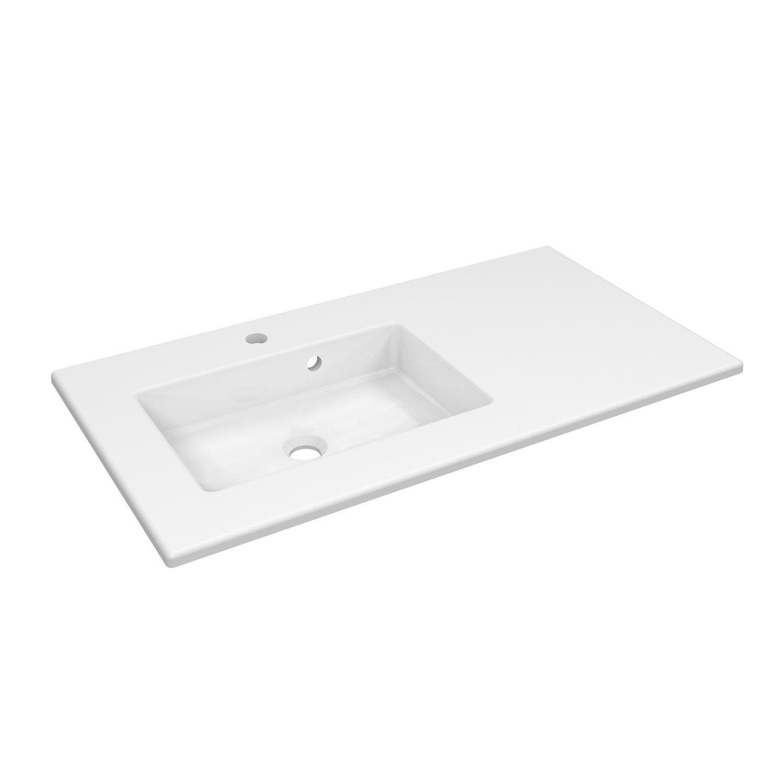 Plan vasque simple céramique Moon l.91 x P.49 cm blanc