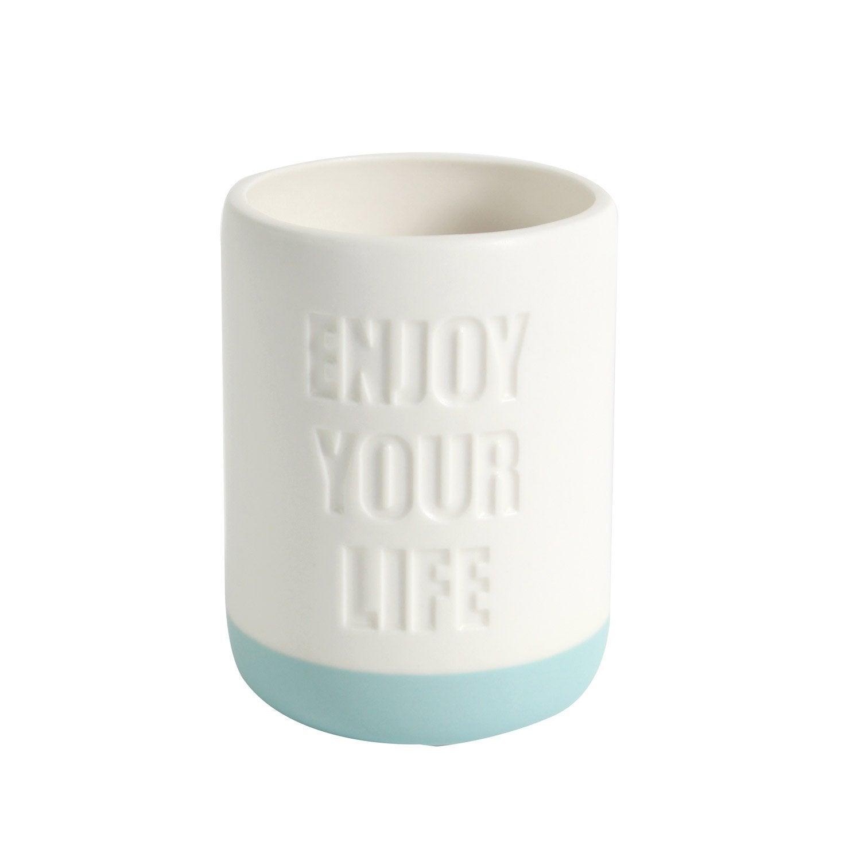Gobelet céramique Enjoy your life, blanc et vert