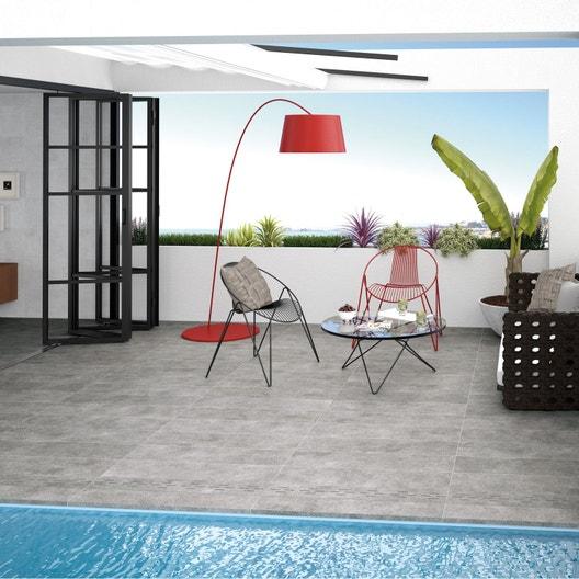 dalle gr s c rame min ral gris clair x cm x mm leroy merlin. Black Bedroom Furniture Sets. Home Design Ideas