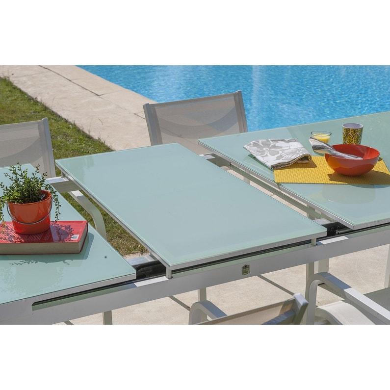Table de jardin de repas Mykonos rectangulaire blanc 8/10 personnes